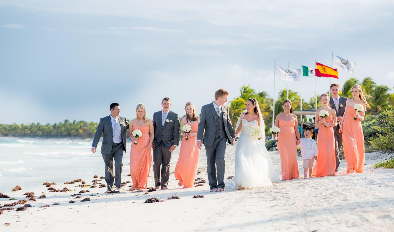 Bridal party on beach at Grand Palladium Mexico Wedding