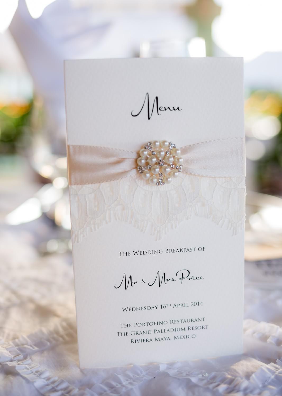 Detail of menu at wedding.