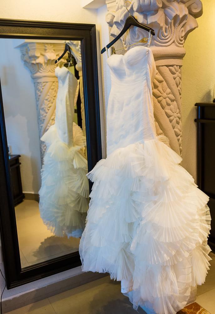beautiful wedding dress detail at Hyatt Zilara Cancun Wedding