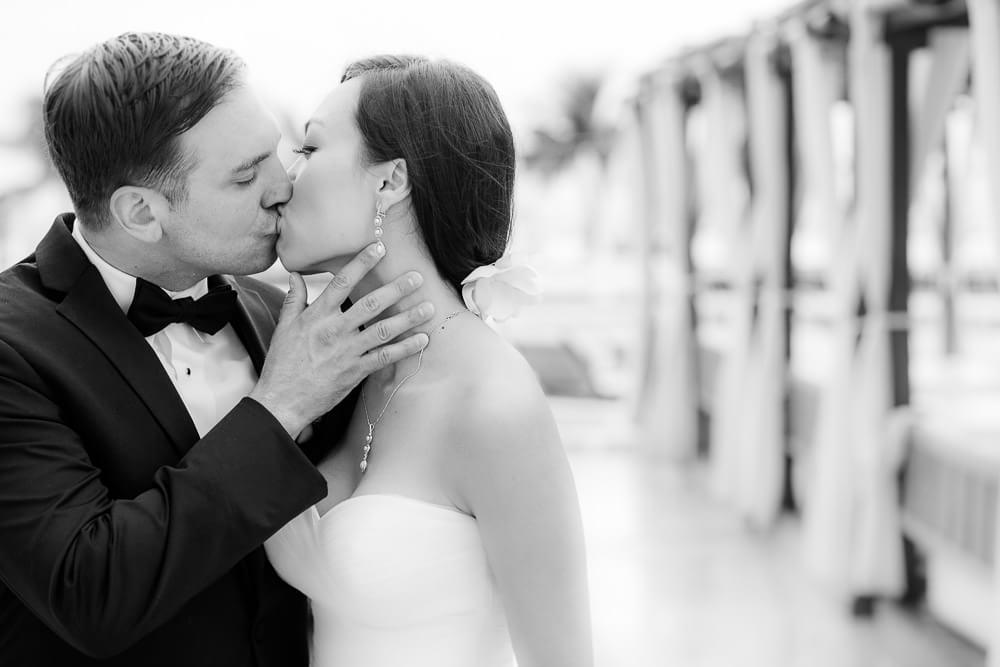 couple kissing at Hyatt Zilara Cancun Wedding