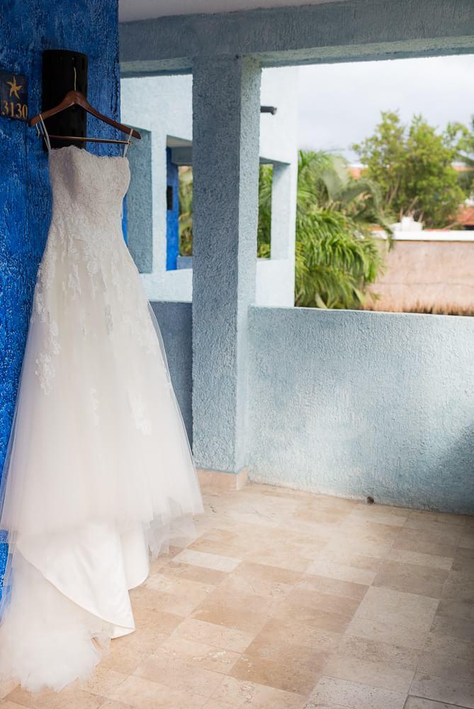 Photo of dress at Riviera Maya wedding