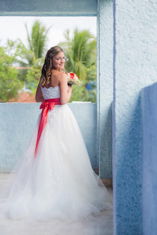 Portrait of bride at wedding.