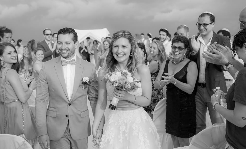 Couple walking down isle at Riviera Maya wedding