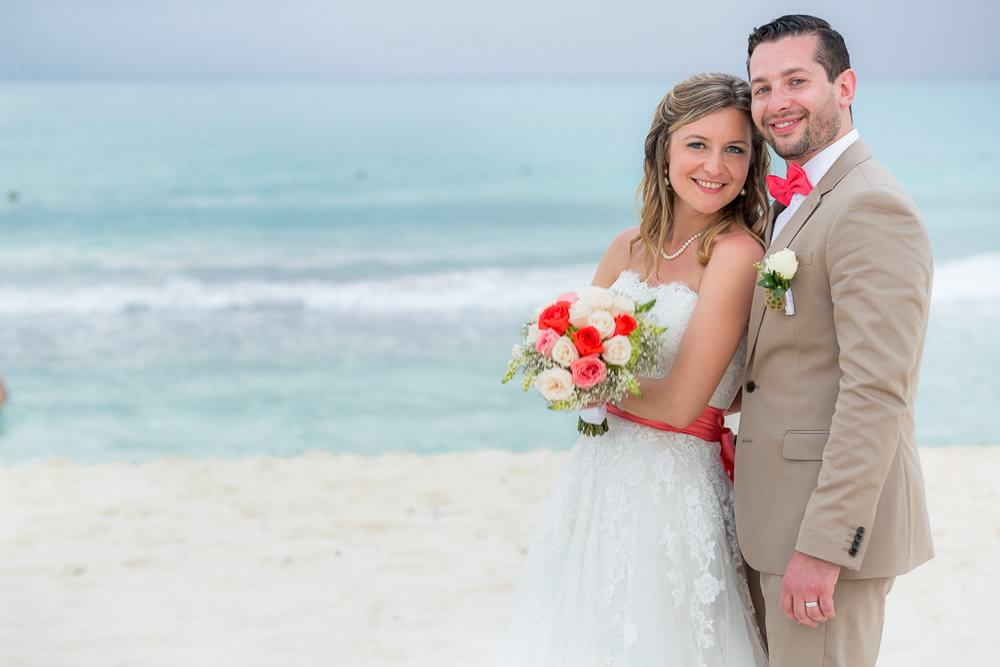 Portrait of bride and groom at Riviera Maya wedding