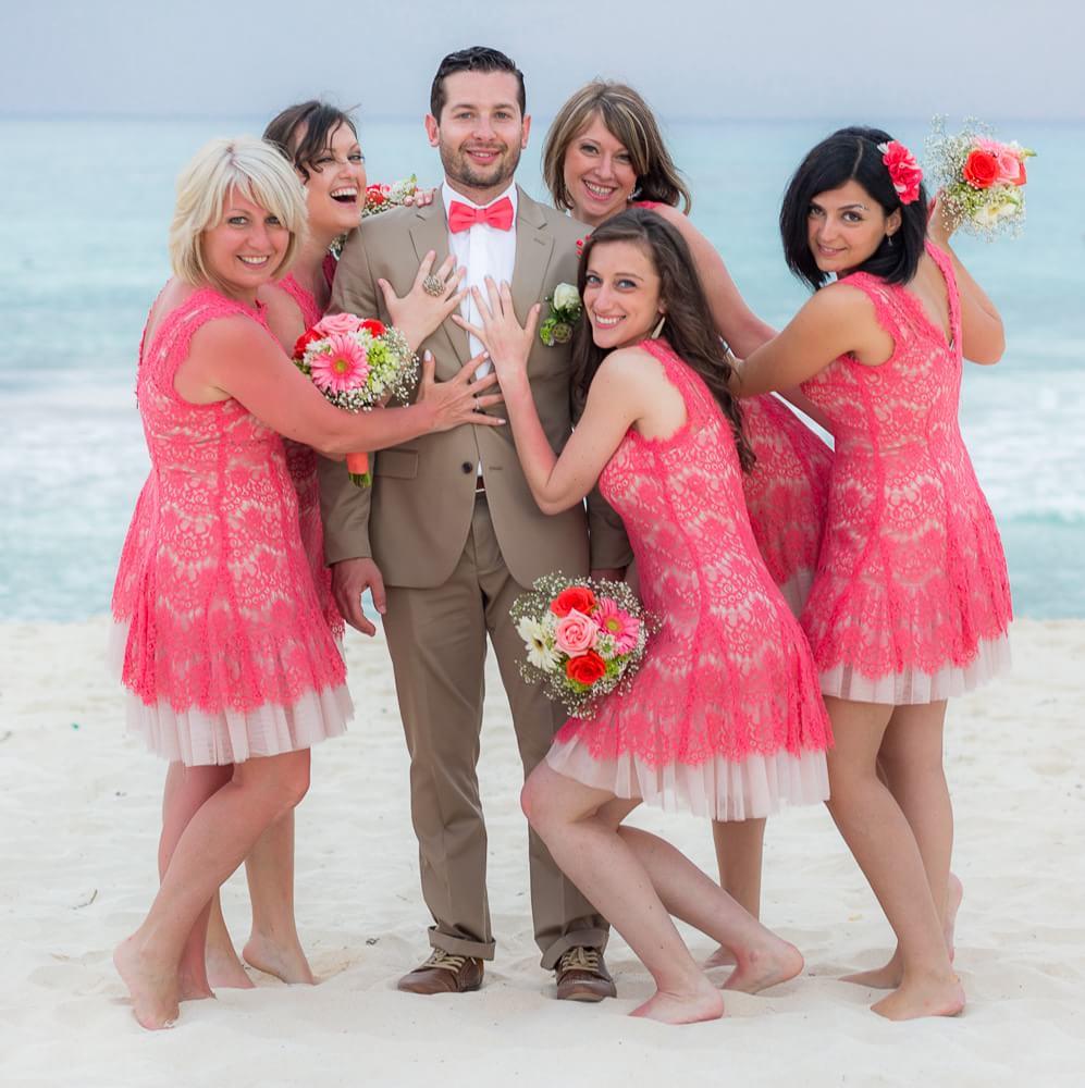 bridesmaids with groom at Iberostar Riviera Maya Wedding