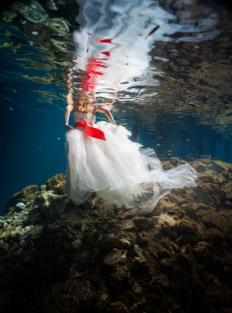 dress in Mexican cenote trash the dress photograph.
