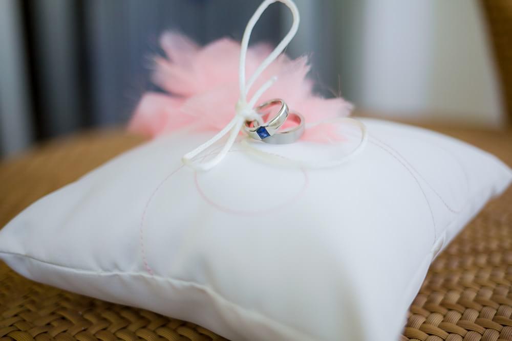 Rings on pillow at Riviera Maya Wedding