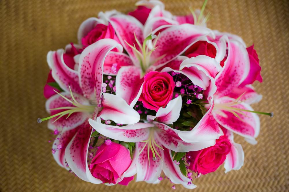 bridal bouquet of lilies