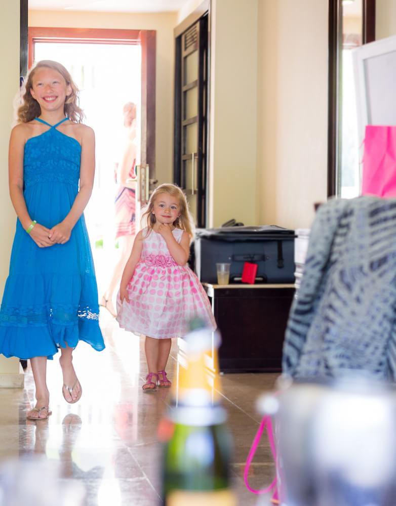 girls walking into room