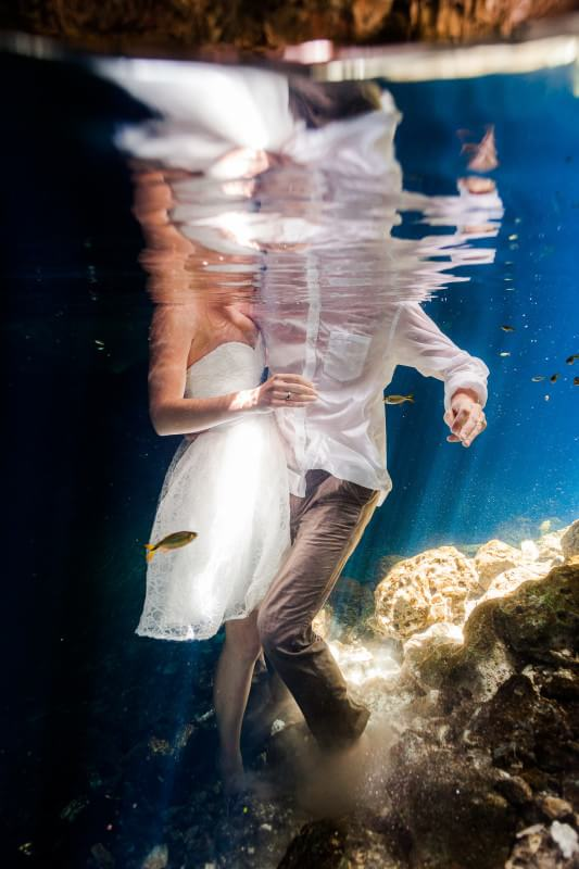 Close up of couple in trash the dress, mayan riviera