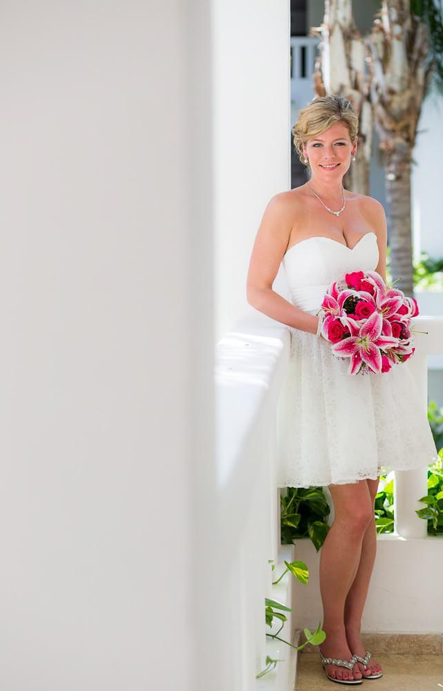 portrait of bride at Grand Sunset Princess Riviera Maya Wedding