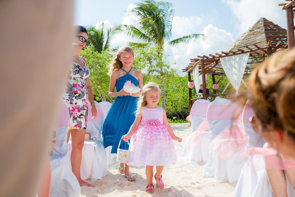 Flower girl at Riviera Maya Wedding