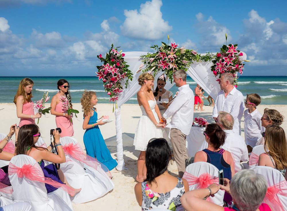 Ceremony by the beach at Grand Sunset Princess Riviera Maya Wedding