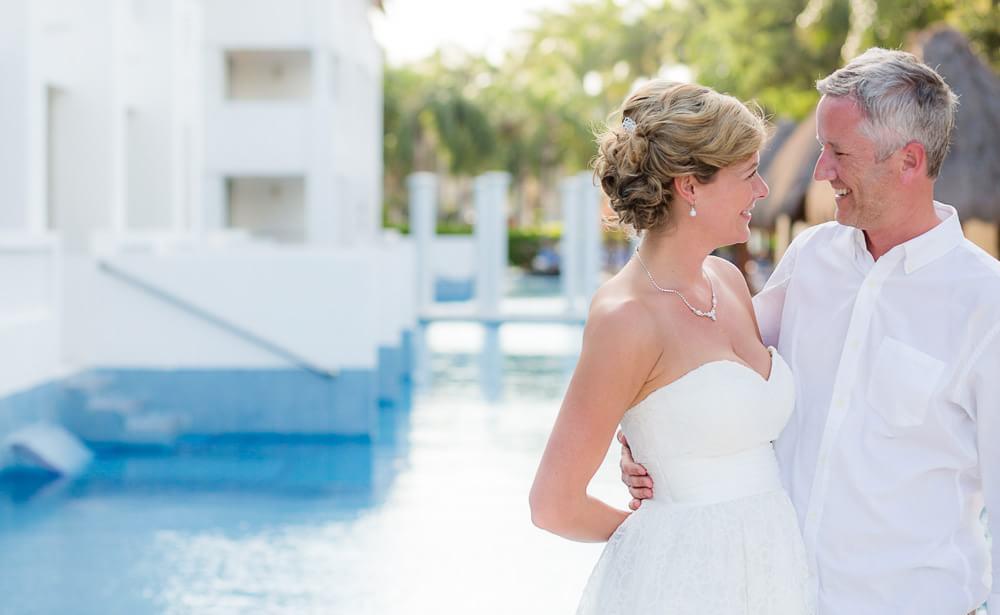 Bride and groom at Grand sunset princes Riviera Maya Wedding