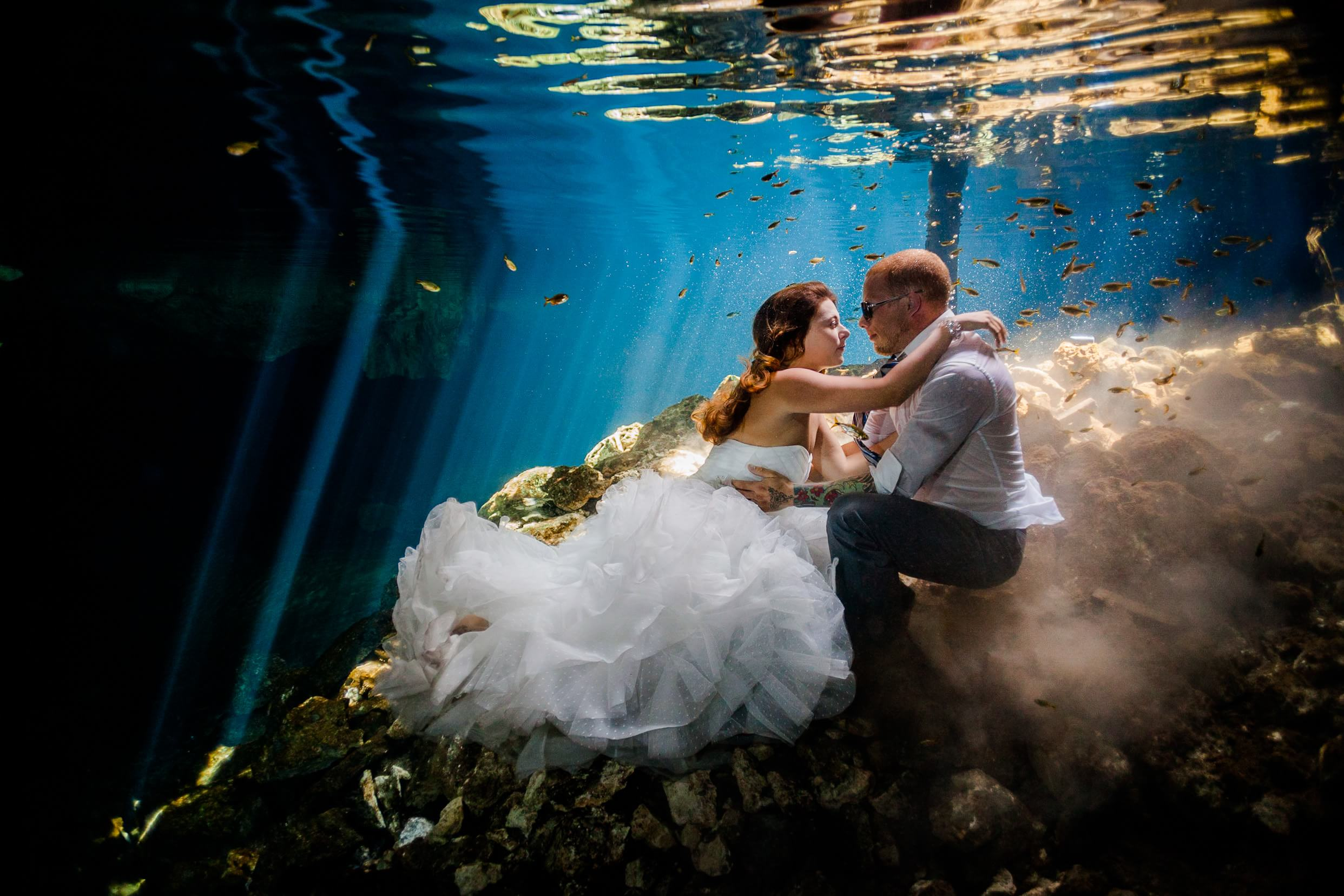Stephanie and Erich\'s Riviera Maya cenote Trash the Dress