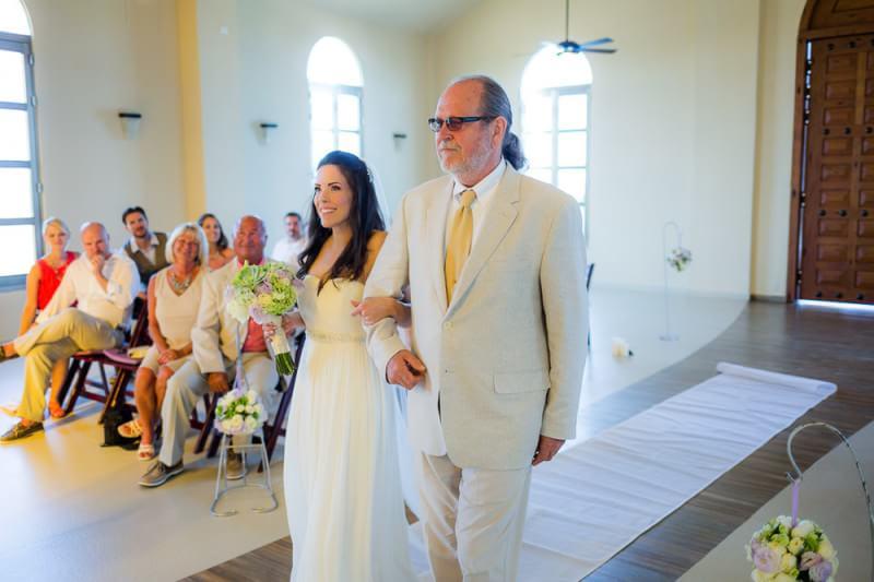 Bride walking down aisle at Generations Riviera Maya Wedding