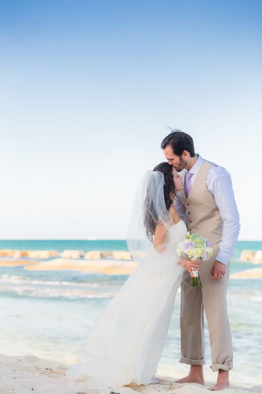 Bride and groom on the beach at RGenerations Riviera Maya Wedding Photography