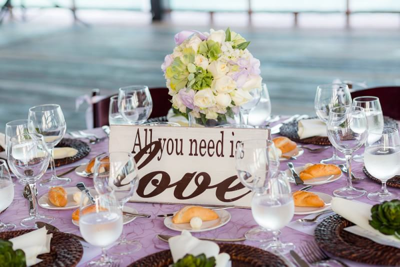Table centers with All you need is love