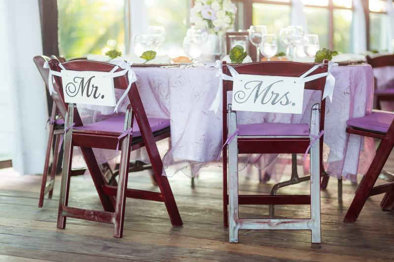 Mr and Mrs chairs at wedding