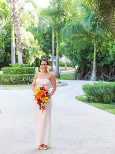 Beautiful Bride's portrait at her Destination Beach Wedding at Iberostar Lindo Mexico