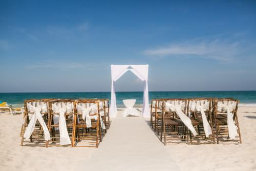 Beautiful ceremony location detail at Destination Beach Wedding at Iberostar Lindo Mexico