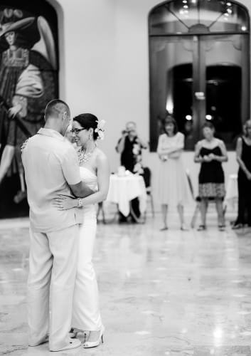 Couple dancing at their Destination Beach Wedding at Iberostar Lindo Mexico