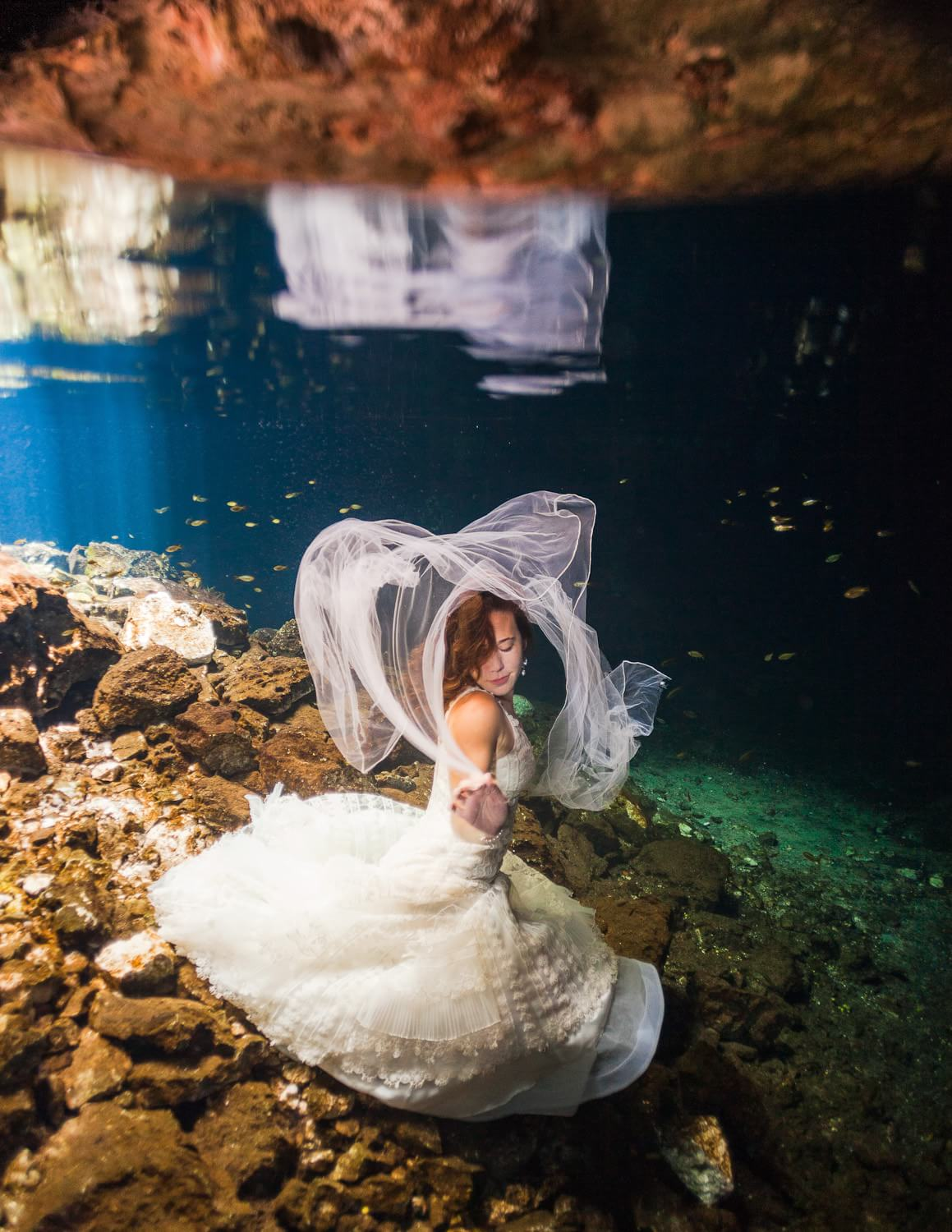 bride in Underwater Trash the Dress