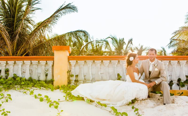 Bride and groom on beach in Riviera Maya, Mexico