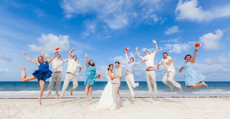 Bride and Groom on the beach at Cancun Wedding