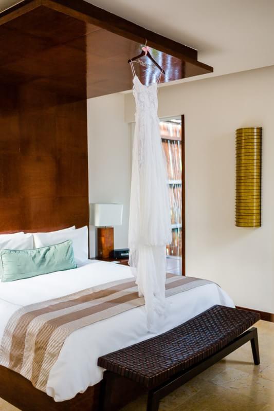 Dress hanging in room at Rosewood Mayakoba Riveira Maya