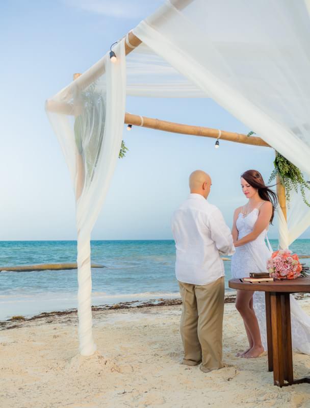 Beach ceremony at Rosewood Mayakoba Riveira Maya Wedding