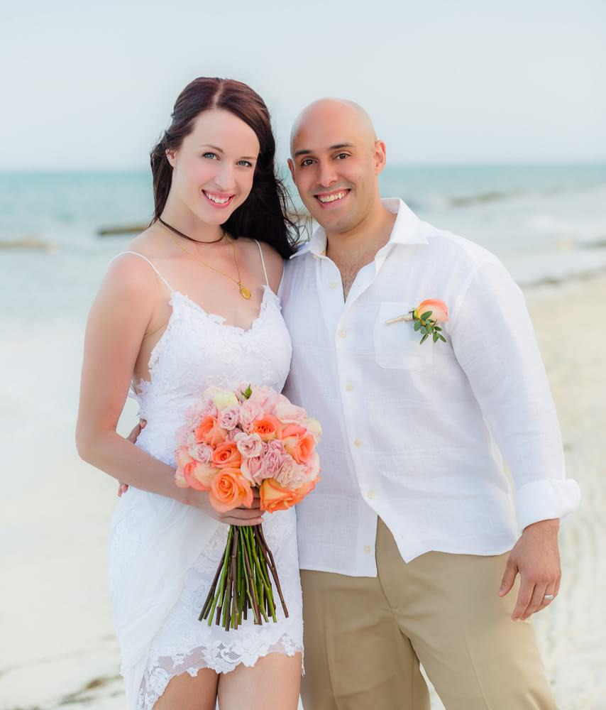 Happy couple at Riviera Maya wedding