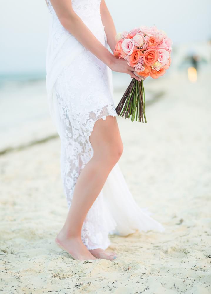 Detail of flowers at Riviera Maya wedding