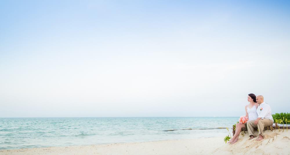 Couple on beach at Rosewood Mayakoba Riviera Maya Wedding