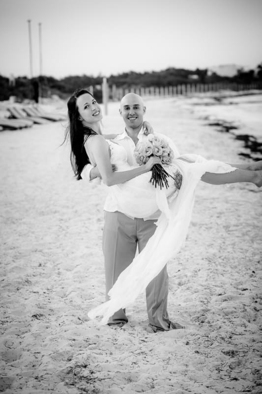 Couple on beach at Riviera Maya Wedding