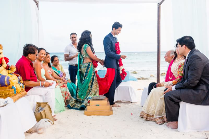 Bride and Groom' ceremony at their Barcelo Riviera Maya Tropical Wedding