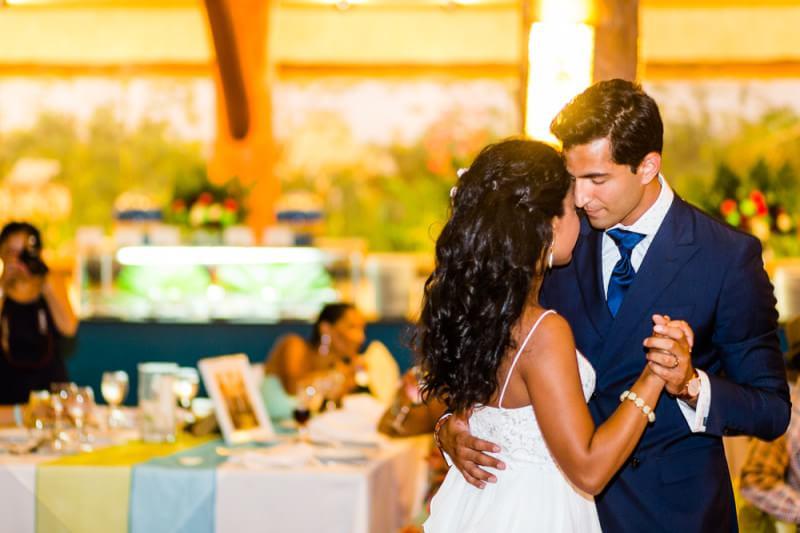 Nikita and Seth dancing at their Barcelo Riviera Maya Tropical Wedding