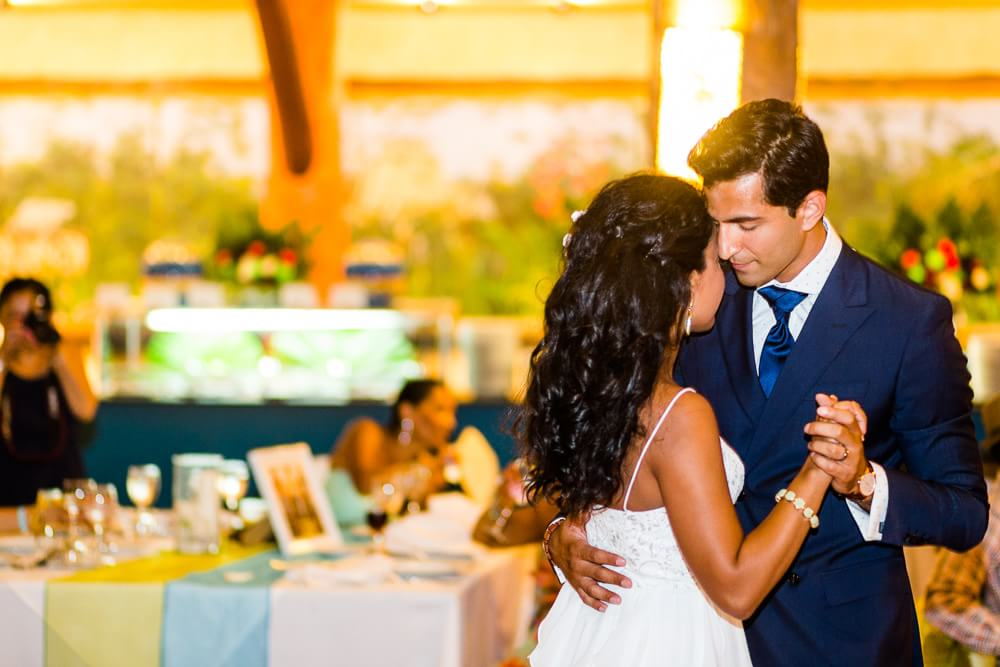 Nikita and Seth dancing at their Barcelo Riviera Maya Tropical Wedding