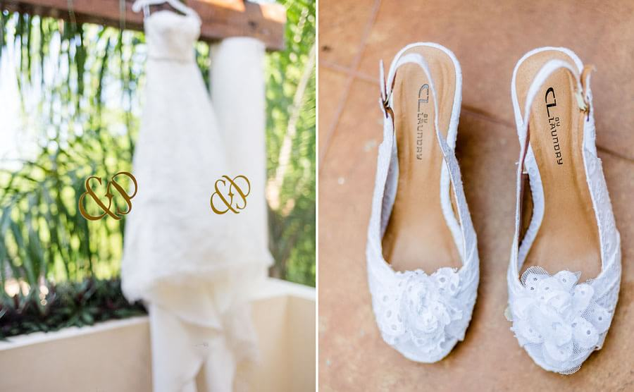 Beautiful dress and shoe detail at Occidental Grand Xcaret Wedding 106