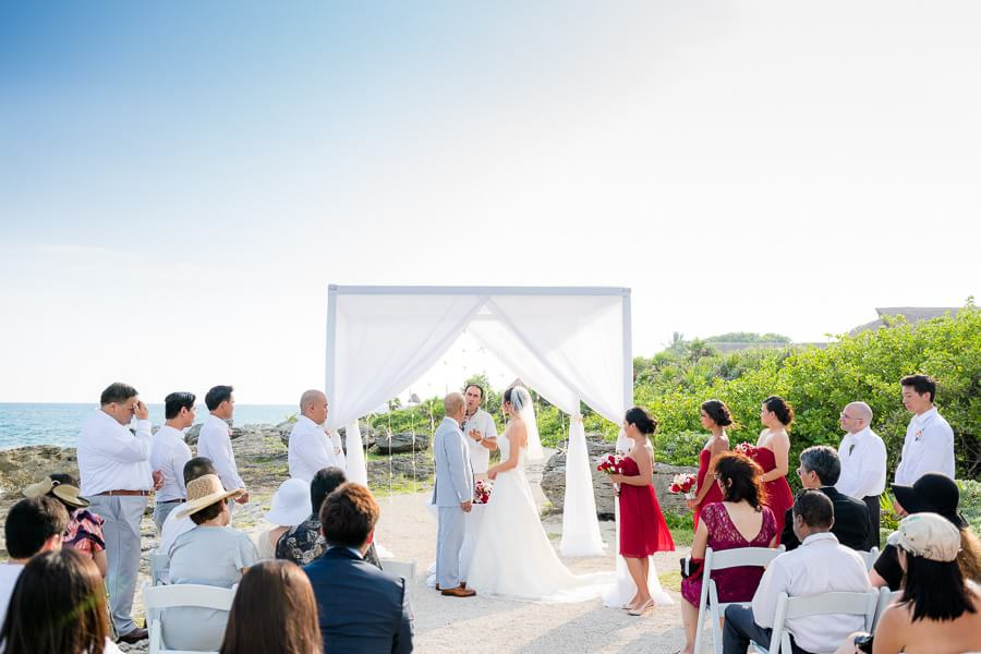 Bride and Groom beautiful ceremony at Occidental Grand Xcaret Wedding 117