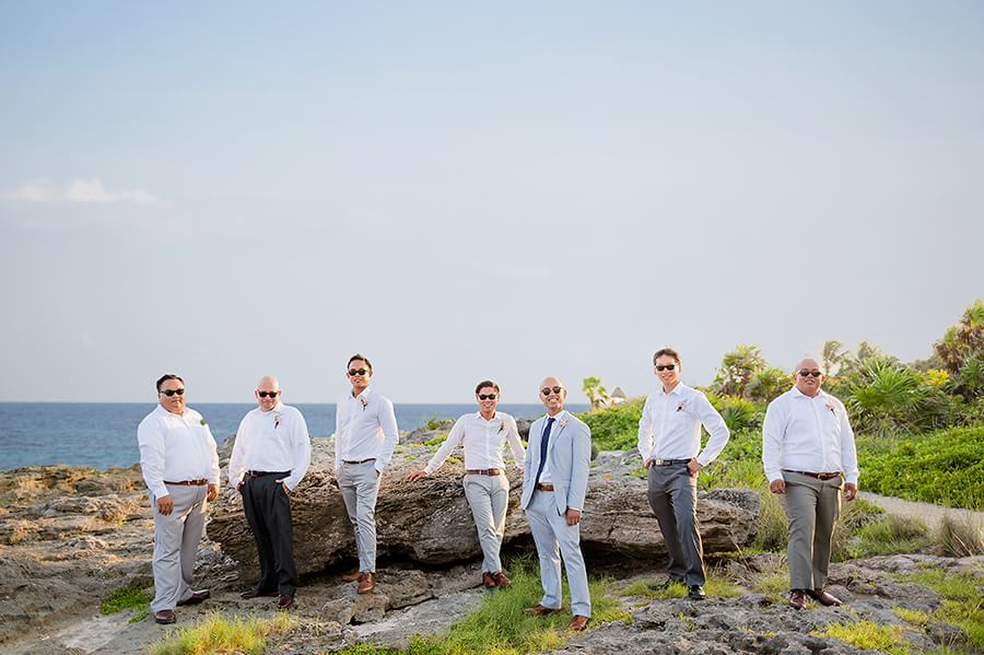 Jeremy and his groomsmen portrait at Occidental Grand Xcaret Wedding 123