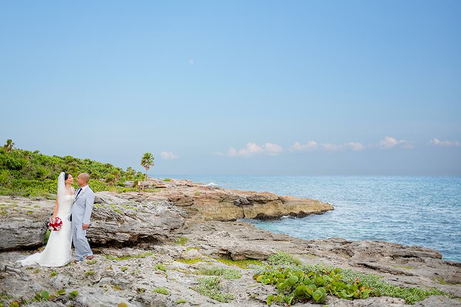 Michel and Jeremy's portrait in front of the sea at Occidental Grand Xcaret Wedding 127
