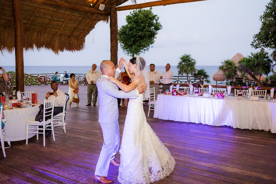 Bride and Groom dancing at Occidental Grand Xcaret Wedding 133