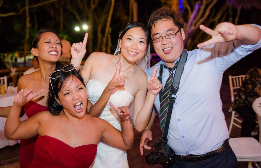 Bride and friends having fun at Occidental Grand Xcaret Wedding 140