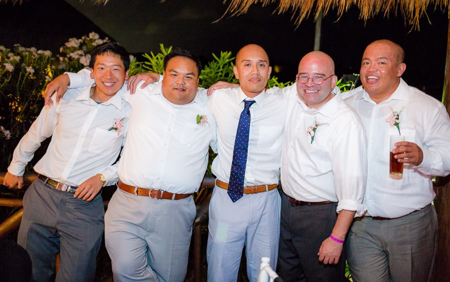 Groom and friends fun portrait at Occidental Grand Xcaret Wedding
