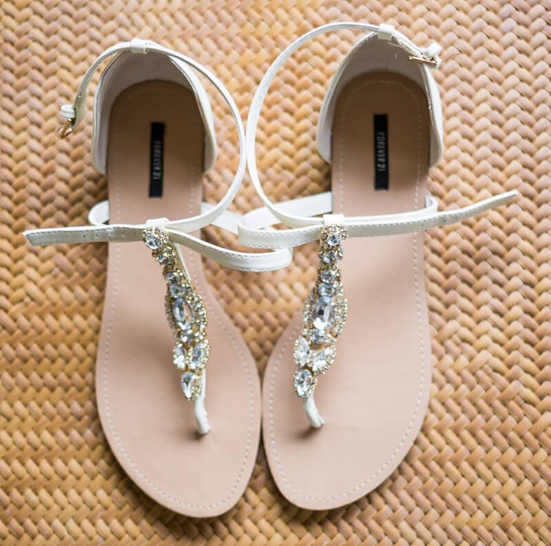 Close up of wedding sandles