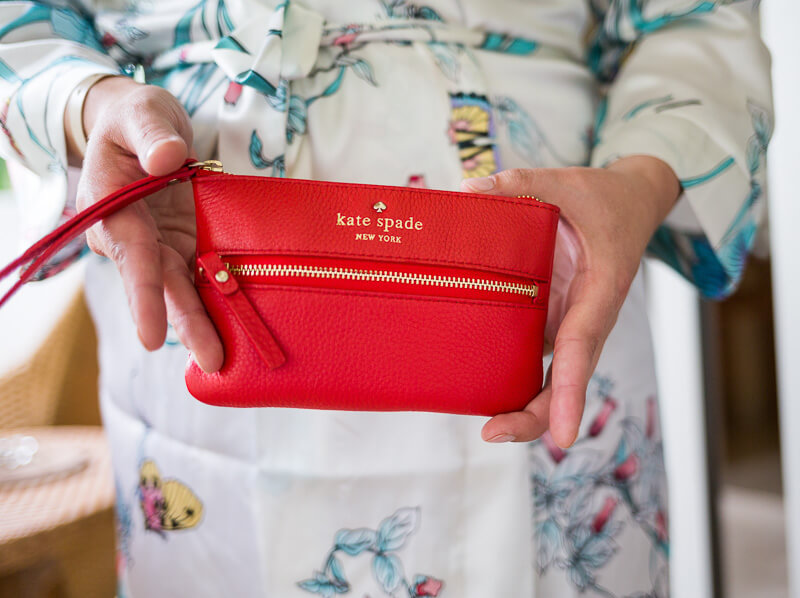 Red clutch as Bridesmaids gifts