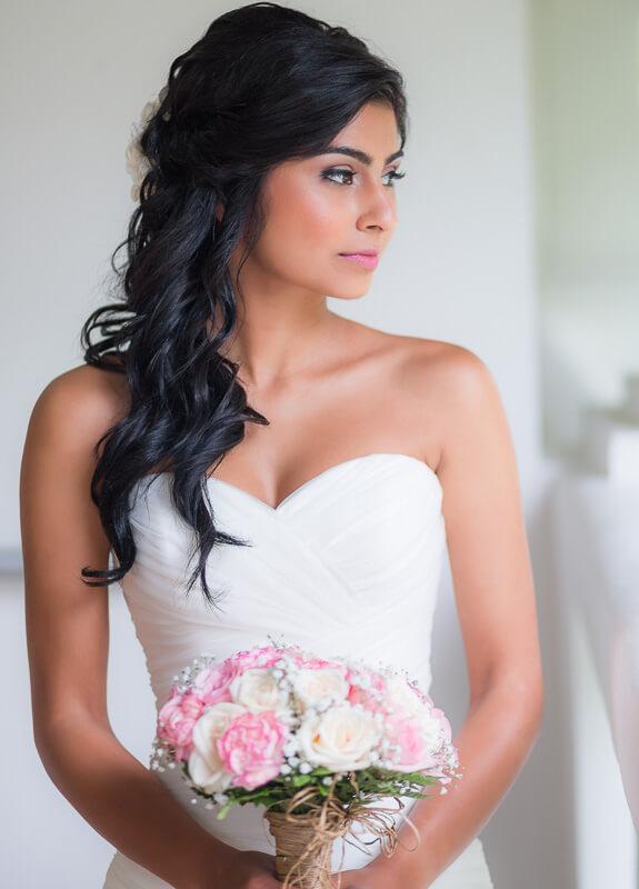 Portrait of bride at Riviera Maya wedding