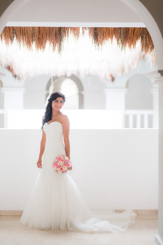 Portrait of bride at wedding in Riviera Maya