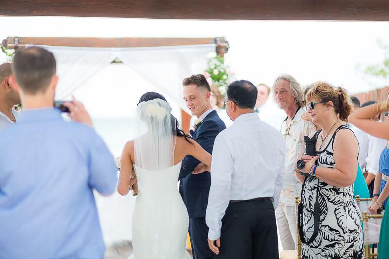 Groom meeting bride in Riviera Maya